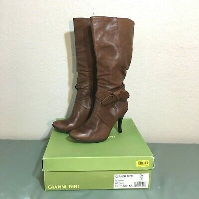 Gianni Bini Tease Tall Slouch Boots Heel Brown Tan Leather Nutty Size 6 Womens ()