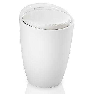 Sitzhocker Badhocker Hocker Bad Arbeitshocker rund Kunststoff mit Stauraum weiß