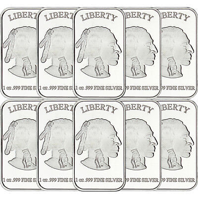 American Buffalo 1 oz .999 Fine Silver Bar by SilverTowne LOT OF 10