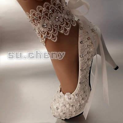 384d99cde8f  39.99 USD Cómpralo ahora. su.cheny Lace white ivory Wedding shoes Bridal  flats low high heel ...