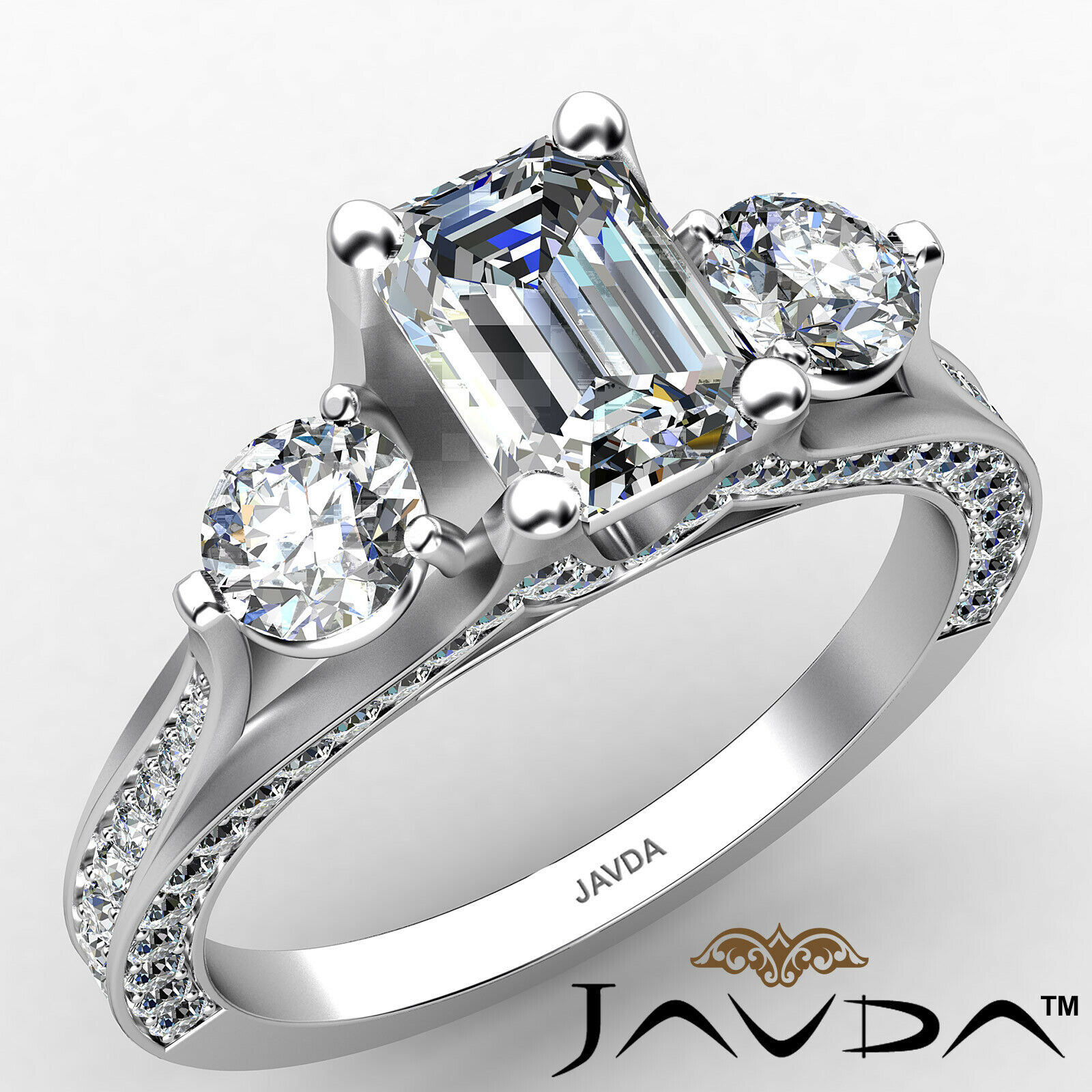 3stone Emerald Diamond Engagement Ring GIA Certified J Color & VVS1 clarity 2ctw
