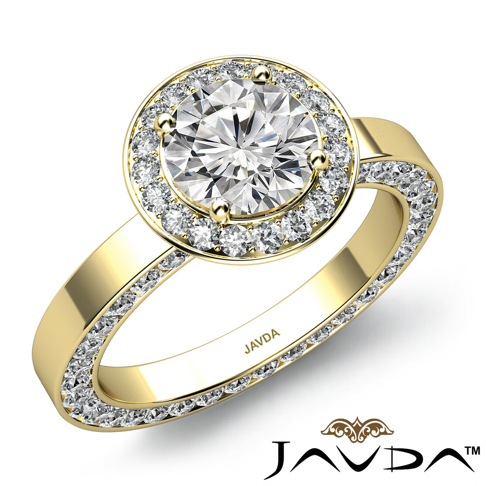 Eternity Channel Set Round Cut Diamond Engagement Filigree Ring GIA H VS2 2.83Ct