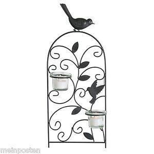 Kerzenhalter wandkerzenhalter mit v gel schwarz teelichhalter verschn rkelt glas ebay - Wandkerzenhalter schwarz ...