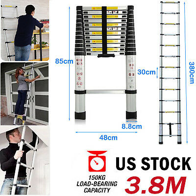 Folding 12.5ft Multi-use Telescopic Extension Step Ladder Aluminum Heavy Duty Us