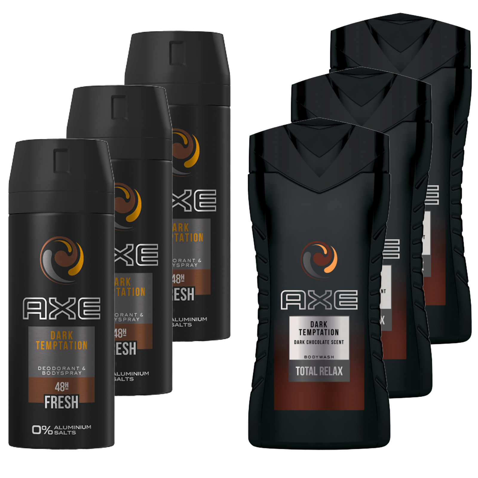 AXE Dark Temptation Duschgel Deo 3 x Showergel  3 x Deospray Deodorant Bodyspray