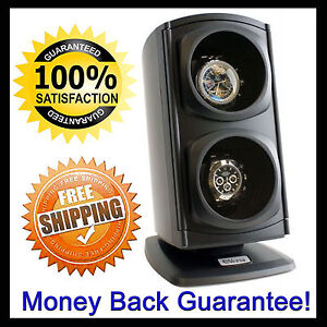 Best Versa Dual Two Double Watch Automatic Winder Wind Black Auto Powered NICE!