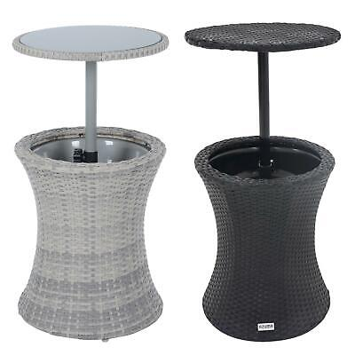 Azuma Ibiza Drinks Cooler Garden Table With Glass Table Top Black Rattan Effect