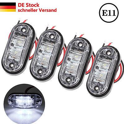 4x 12V Weiß Begrenzungsleuchte 2 LED Umrissleuchte E-Prüf Positionsleuchte LKW
