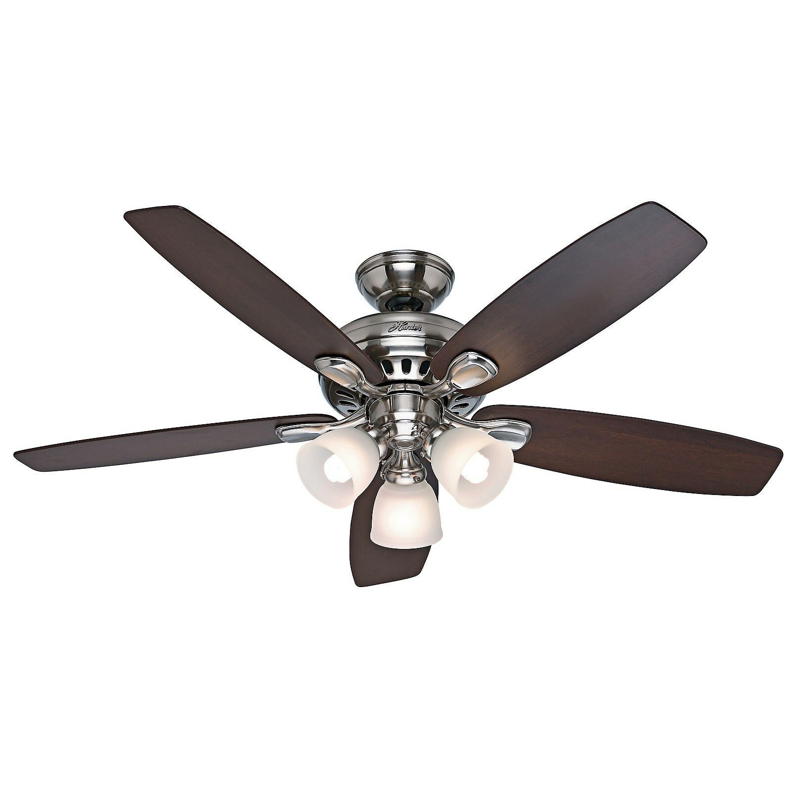 Control Ceiling Fan : Hunter quot brushed nickel ceiling fan with light remote