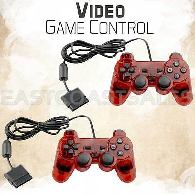 2x Red Twin Shock Video Game Controller Joypad Pad for Sony PS2 Playstation 2