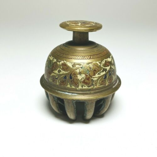 """Vintage Brass Claw Bell Etched Enamel 2 1/2"""" tall India Shop Desk Call Service"""