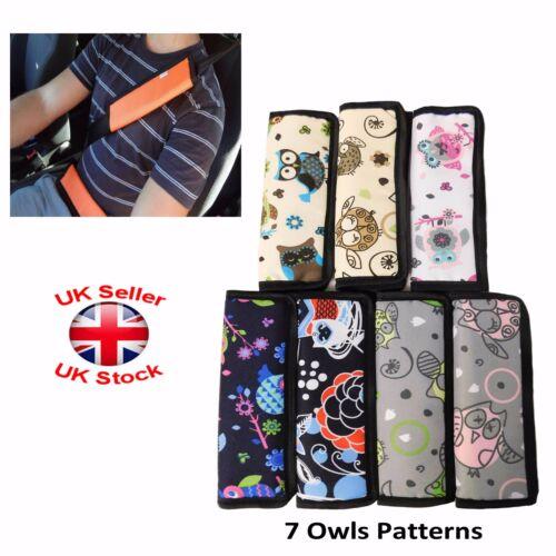 Car and Pram Safety Seat Belt Strap Shoulder Cover Harness Pad Pack:1or2 Owls