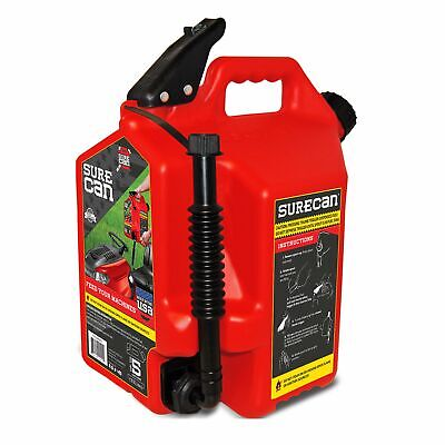Surecan Self Venting Easy Pour Nozzle 5 Gallon Flow Control Gas Container Red