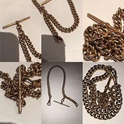 Antique 15ct Gold ALBERT Pocket Fob Watch Chain With T bar & Clasp Scrap 53.1gr