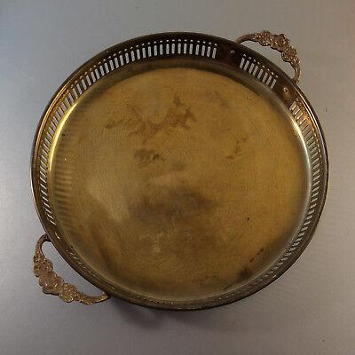 (e1) MID CENTURY Messing 50er 60er Tablett  Schale D 23,4 cm Durchbruch rund