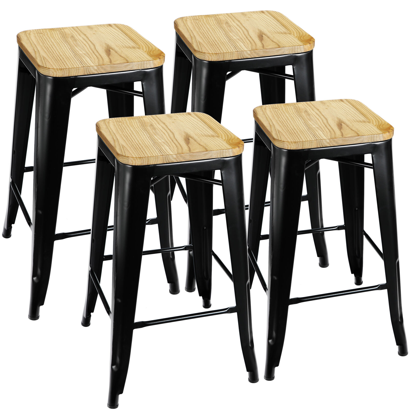 26″ barstools Set of 4 Counter Height Metal Bar Stools Indoor Outdoor  Black Benches, Stools & Bar Stools