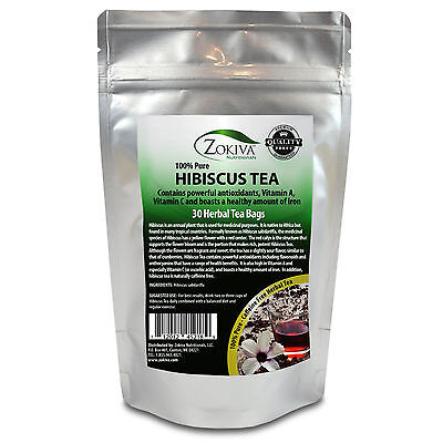 Hibiscus Tea 30 Bags 100% Natural Premium Antioxidant Rich Tea Resealable Pouch