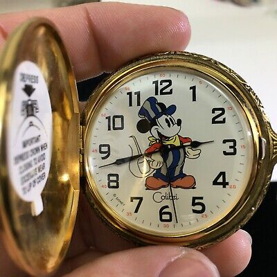 VTG Disney Colibri Mickey & Co. Pocket Watch Train Railroad Conductor DS03