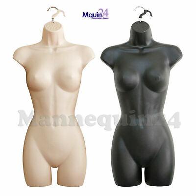 Flesh Black Female Torso Mannequin Set - 2 Women Dress Body Forms With Hangers