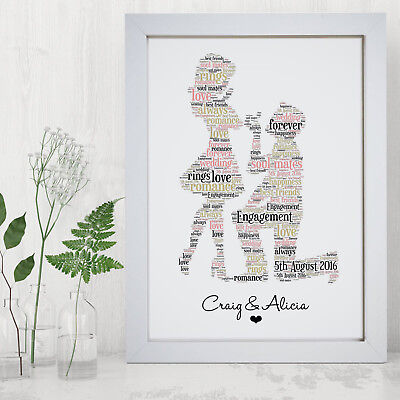 Personalised Engagement Print Frame Engaged Gift Idea Unique Gifts For Couples ()