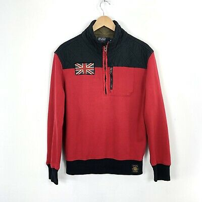 RARE Polo Ralph Lauren Red Black Great Britain British Moto Racing Jacket Coat M