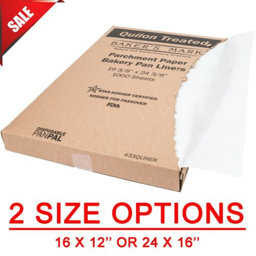 (1000-Pack) Full or Half Size Coated Parchment Paper Sheet Pan Liner Sheets