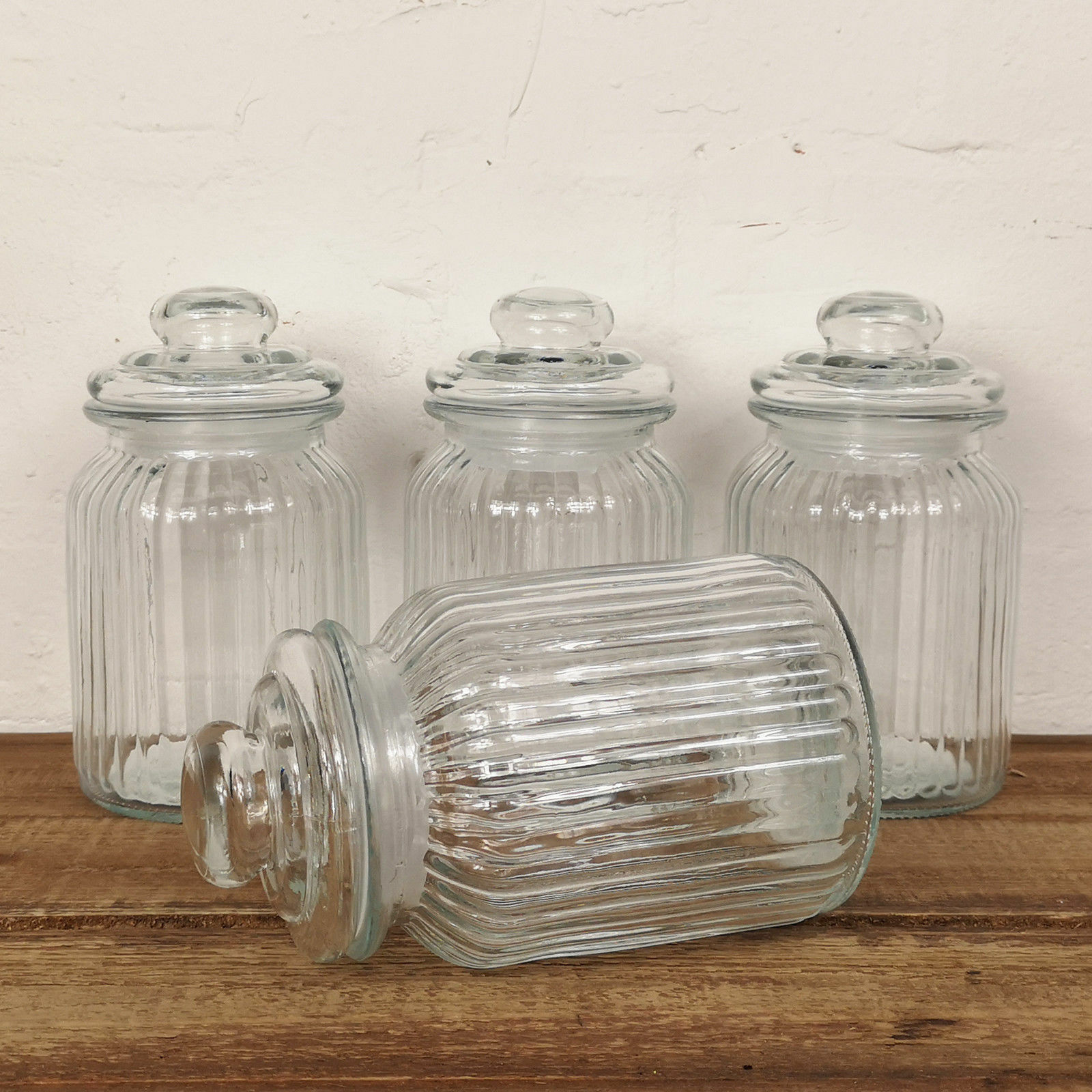 Set Of 4 Glass Storage Jars Small 990ml Empty Kitchen Push T