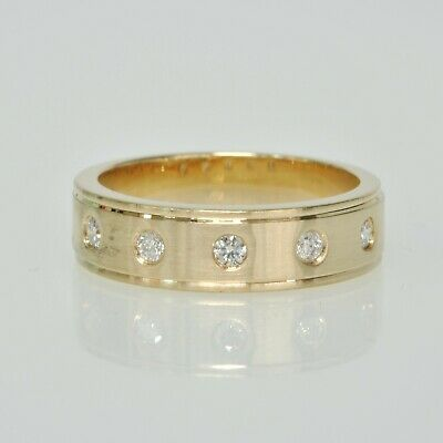 Gents Mens 14k Yellow Gold 1/4Ctw Diamond Flush Set Wedding Band Estate Ring 10 14k Gents Wedding Band