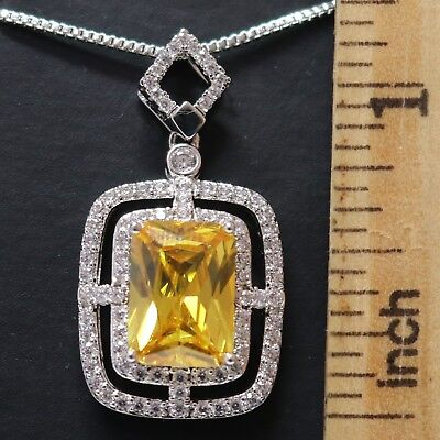 Yellow Sapphire Moissanite Necklace 14K White Gold Plated Women Jewelry Gift Box - Moissanite Sapphire Necklace
