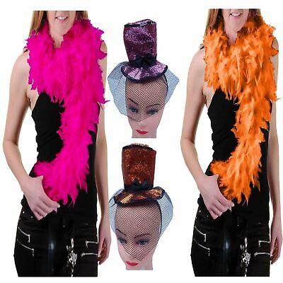 Women Glitter Fascinator Top Hat Feather Boa Fancy Dress Hen Night Accessory -