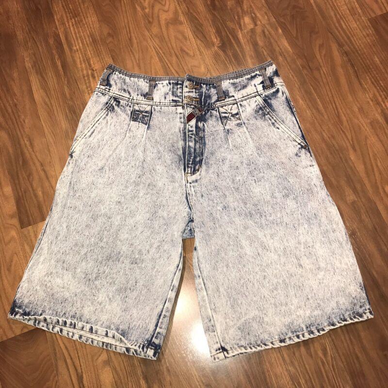 Vtg 80s 90s Acid Wash Denim Shorts NEVER LEGAL Blue Jean High Waisted MENS 34