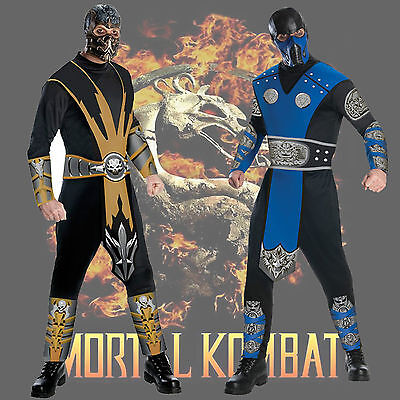 Adult Video Game Mortal Kombat Scorpion / Sub-Zero Combat Standard Ninja Costume](Mortal Kombat Ninja Costume)