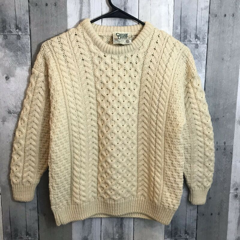 Carraig Donn Childs Irish Knit Sweater Size XL Pullover Ivory Wool Multi Stitch