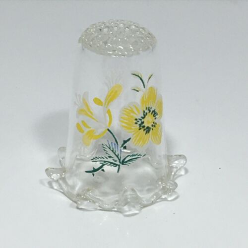 Clear Glass Yellow Flower Thimble Fluted Bottom