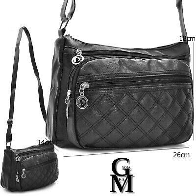 Borsa borsetta pelle trapuntata casual tasche tracolla passeggio nera comoda