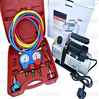 AC REFRIGERATION KIT A/C MANIFOLD GAUGE AIR VACUUM PUMP HVAC COMBO 3CFM ¼ HP NEW