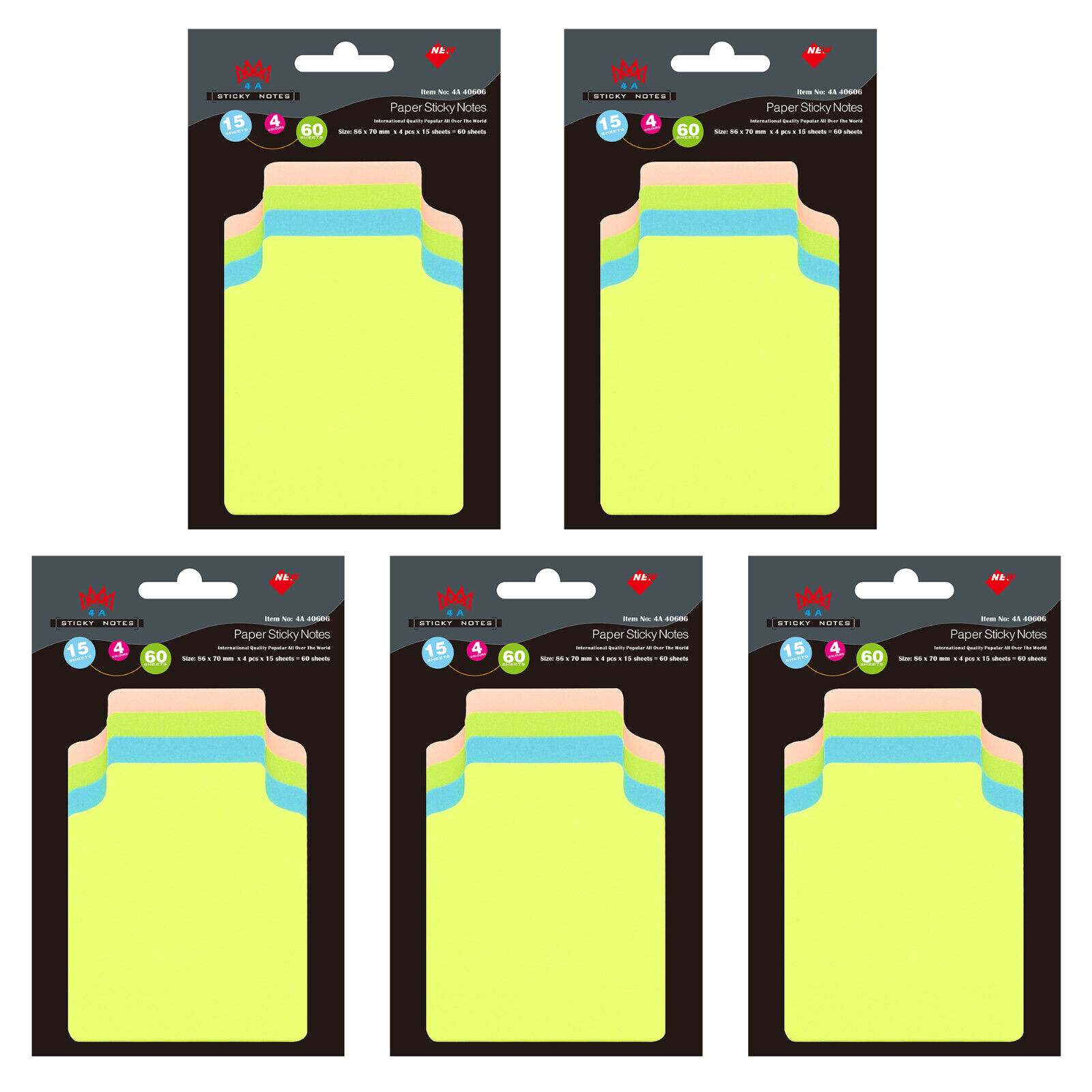 4A Super Sticky Notes Divider Tab Neon Assorted Total 300 Sheets 4A 40608