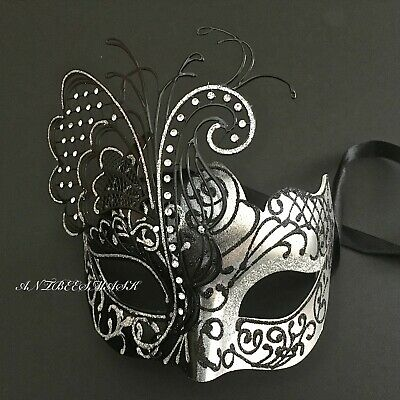Party Masquerade Masks (Venetian Masquerade Women Black Silver Glitter Butterfly Elaborate Party)