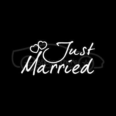 Just Married Vinyl (JUST MARRIED Sticker Cute Wedding Vinyl Decal Car Window Wall Art Husband Wife )