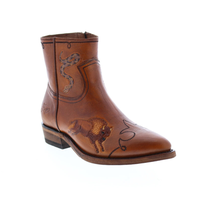 Frye Billy Tattoo Rodeo Inside Zip 71525 Womens Brown Leather Western Boots