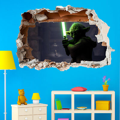 STAR GALACTIC WARS YODA WALL STICKERS 3D ART MURAL ROOM OFFICE POSTER DECOR TX7