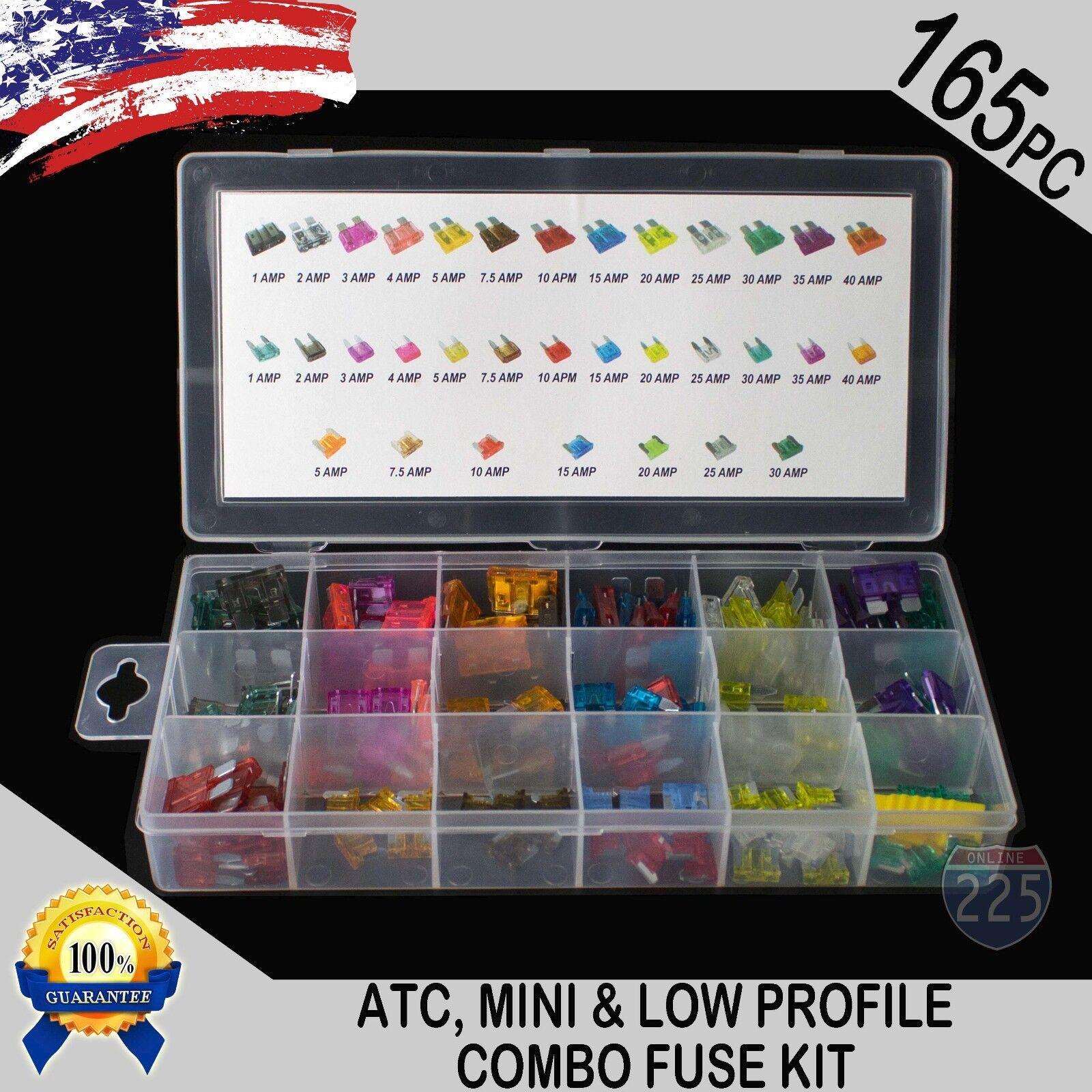 165pcs Auto Business Mini ATM APM Low Profile ATC APR Blade Fuses Assortment Kit