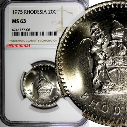 Rhodesia Zimbabwe Copper-Nickel 1975 20 Cents NGC MS63 KM# 15