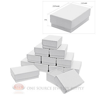 12 White Swirl Cardboard Cotton Filled Jewelry Gift Boxes 2 58 X 1 12 X 1