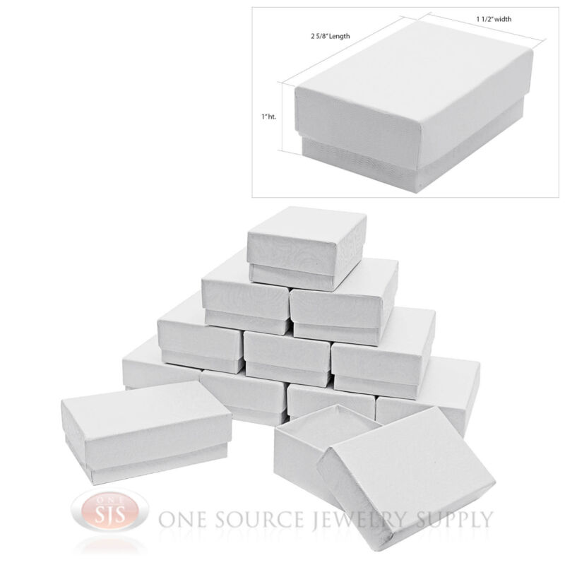 """12 White Swirl Cardboard Cotton Filled Jewelry Gift Boxes  2 5/8"""" X 1 1/2"""" X 1"""""""