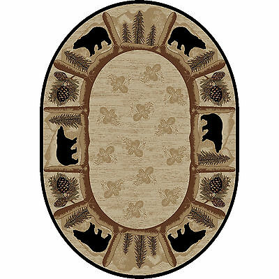 8x10 Oval Lodge Cabin Rustic Bear Pine Leaf Beige Area Rug ***FREE SHIPPING*** ()