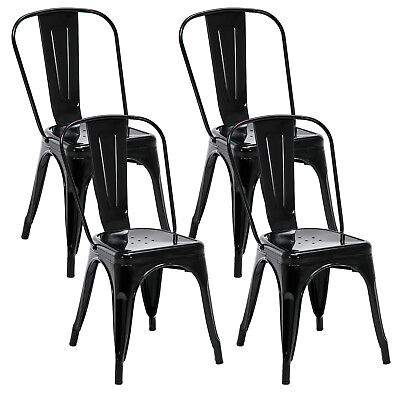 (Set of 4 Tolix Style Dining Side Chairs Stackable Bistro Cafe Metal Stools)
