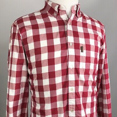 BURBERRY BRIT MENS LONG SLEEVE RED PLAID CHECK BUTTON DOWN COTTON SHIRT SIZE XL