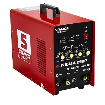 STAMOS Wig/Tig MMA Puls Schweißgerät Dc Inverter Hf Pulsfunktion 230V 250A Kabel