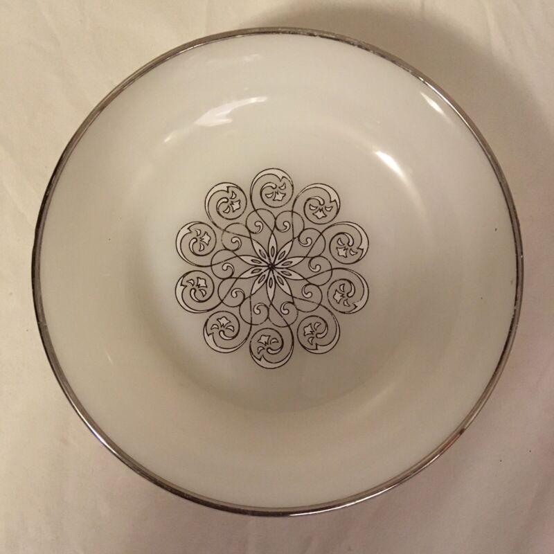 Anchor Hocking Oven Proof Dinnerware USA made Desert Bowl Milk Glass Silver Trim